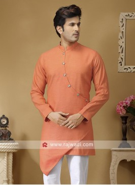 Peach Linen Fabric Kurta