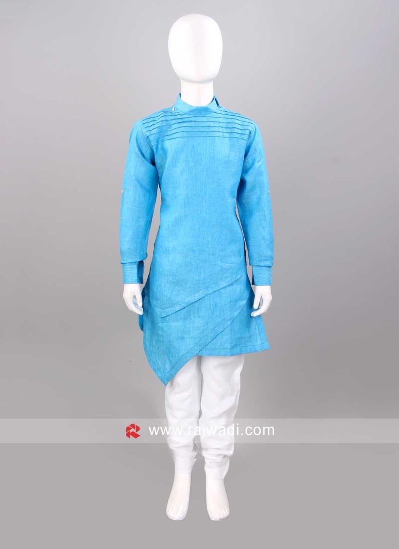 Layered Linen Fabric Pathani Suit