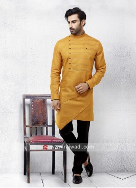 Layered Linen Pathani Set