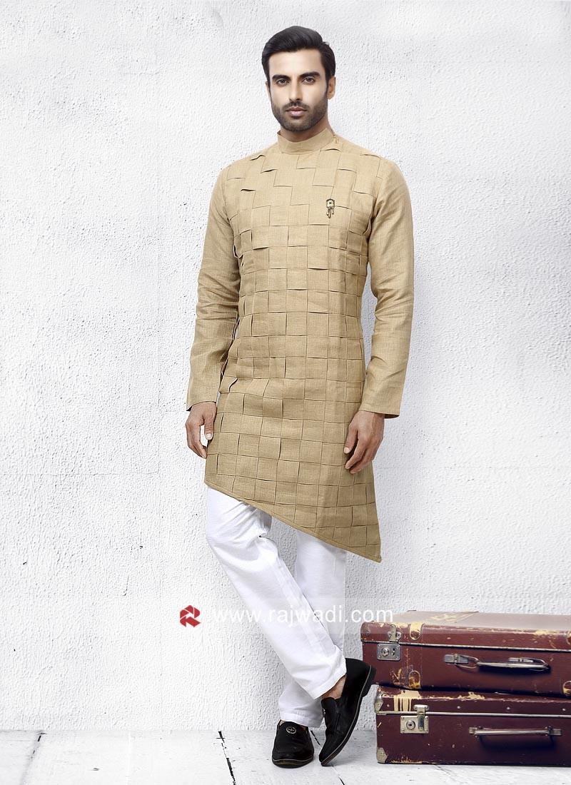 Layered Linen Pathani Suit