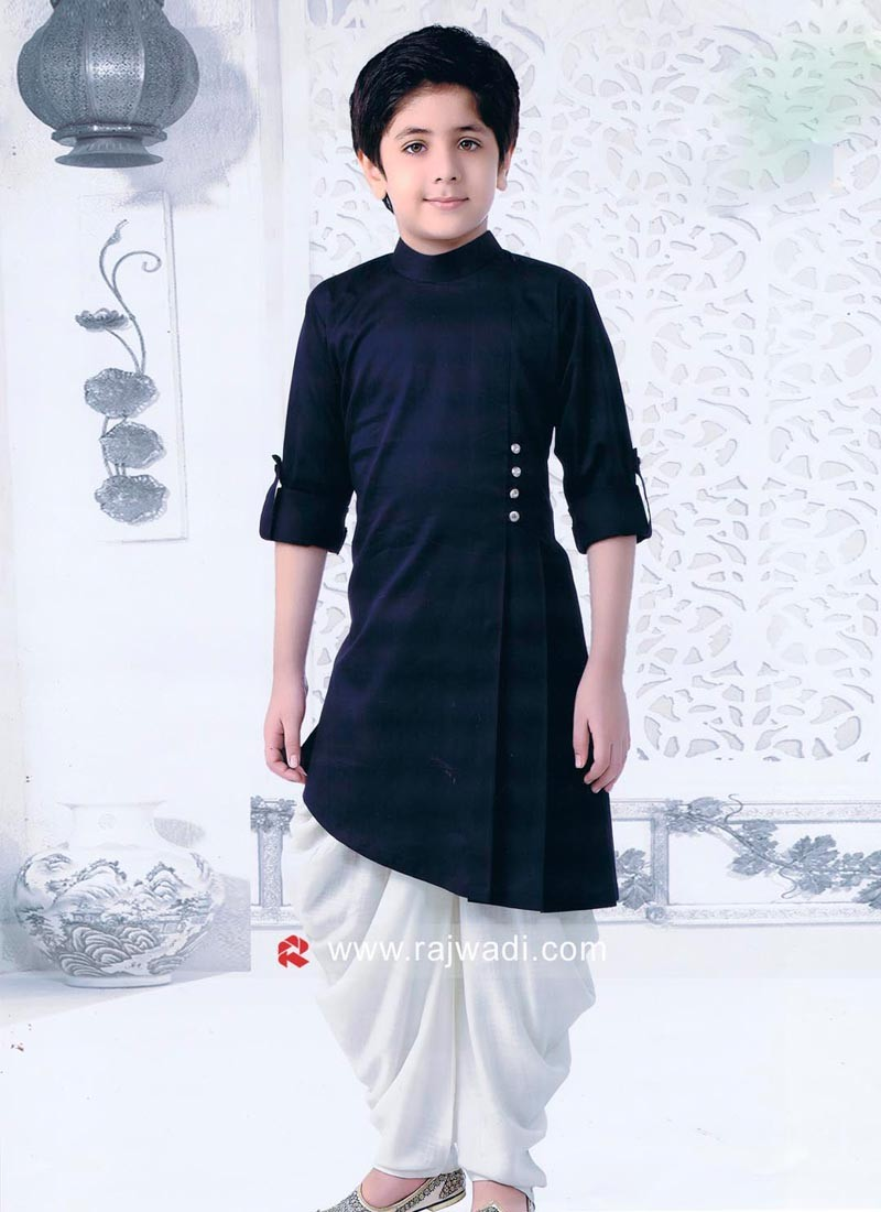 Layered Navy Pathani Set