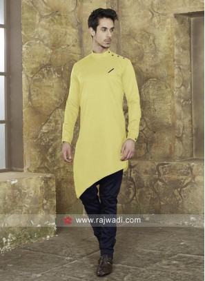 Layered Pathani In Yellow Color