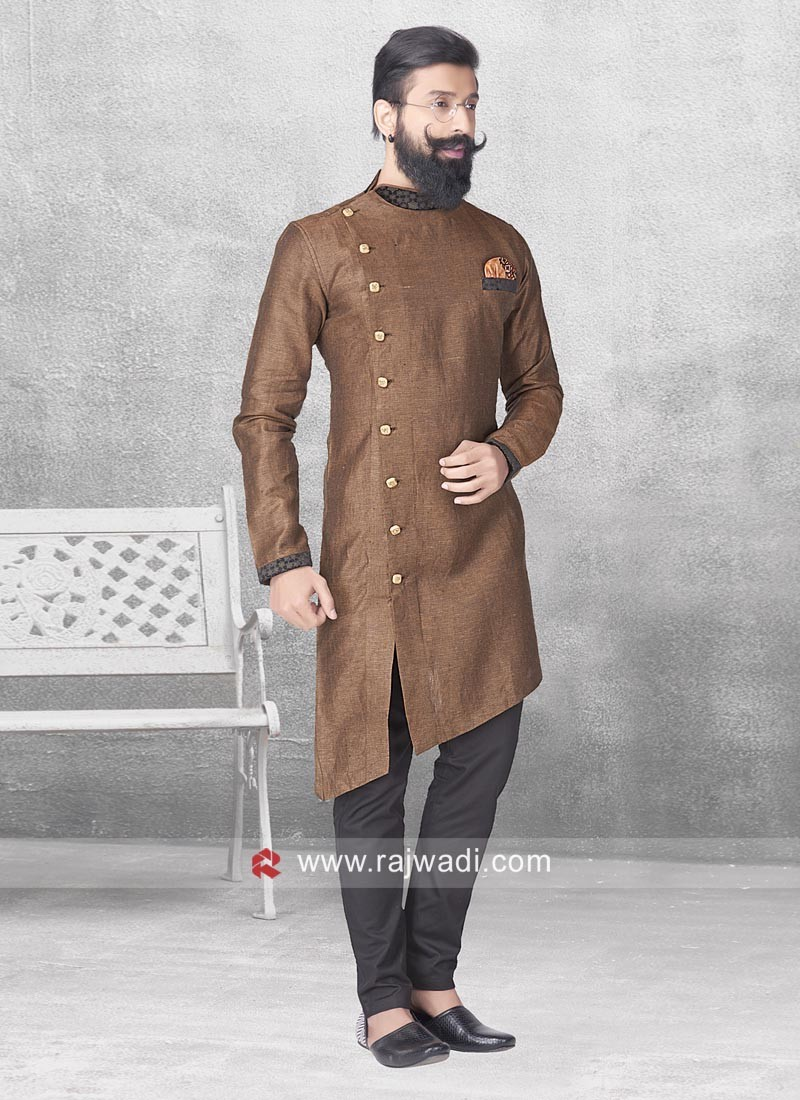 Layered Pathani Suit In Brown Color