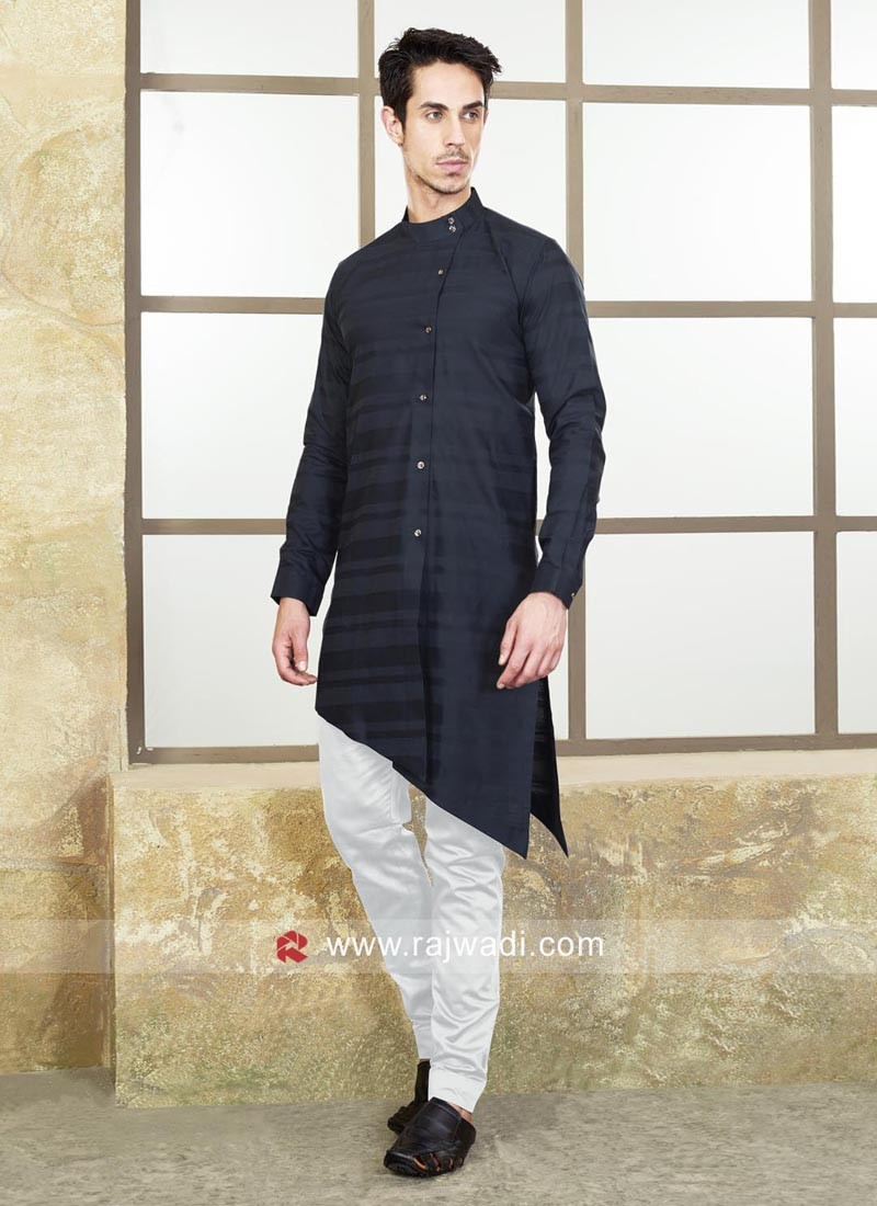 Layered Pathani Suit In Navy Color