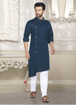 Layered Pathani Suit In Teal Color