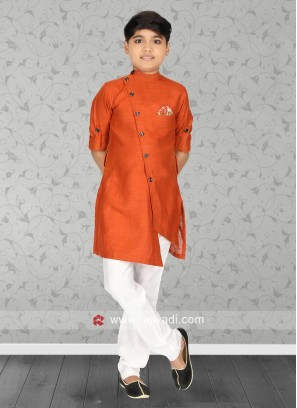 Orange Color Linen Fabric Kurta Set