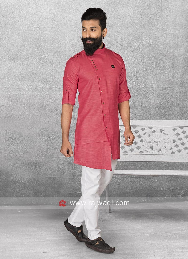 Stylish Rani Color Pathani Suit