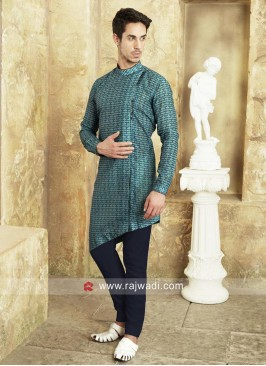 Layered Teal Color Pathani Suit