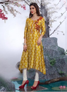Layered Yellow Paper Silk Kurti