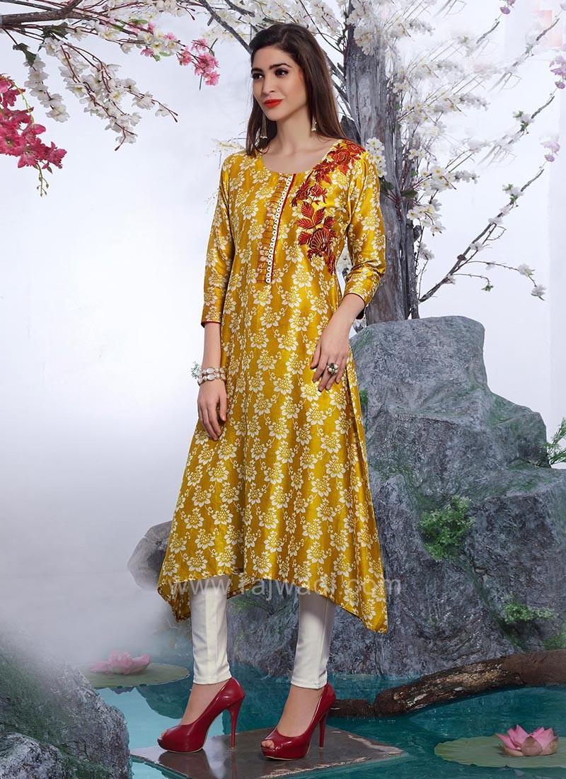 Layered Yellow Paper Silk Kurti
