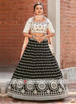 Lehenga Choli In Off-White And Black