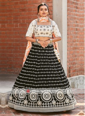 Lehenga Choli In Off-White And Black