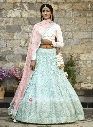 Lehenga Choli In Sky Blue and White