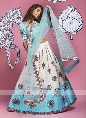 Lehenga Choli In White And Sky Blue