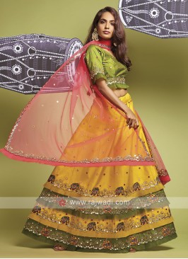 Lehenga Choli In Yellow And Parrot Green
