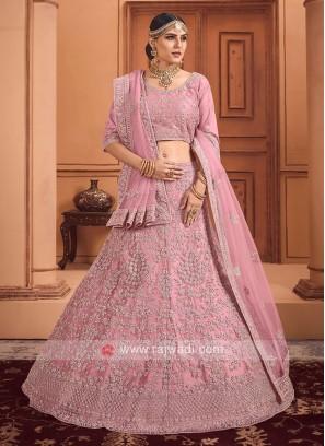 Lehenga Choli With Dupatta Having Diamond Work On Net Fabric