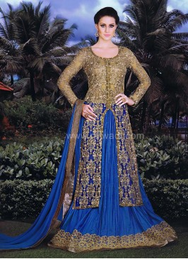 Lehenga Style Royal Blue and Cream Dress Material