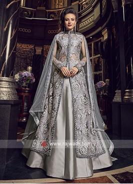Lehenga Style Salwar Suit in Grey