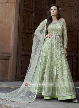 Lehenga Style Salwar Suit in Pista Green