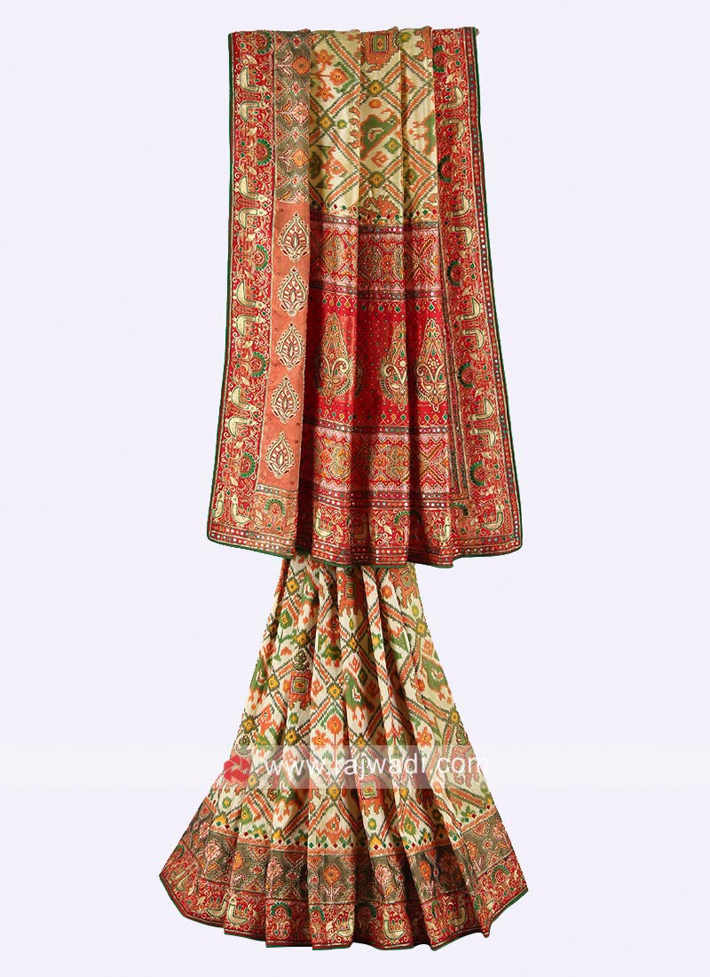 Lemon yellow and red color pure silk saree