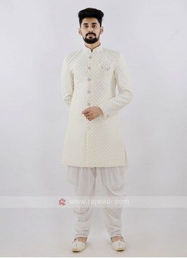 Lemon Yellow And White Patiala Suit