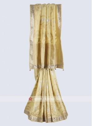 Lemon yellow banarasi silk saree