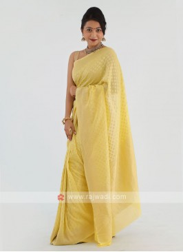 Lemon Yellow Chiffon Saree