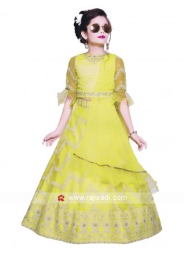lemon Yellow Choli suit