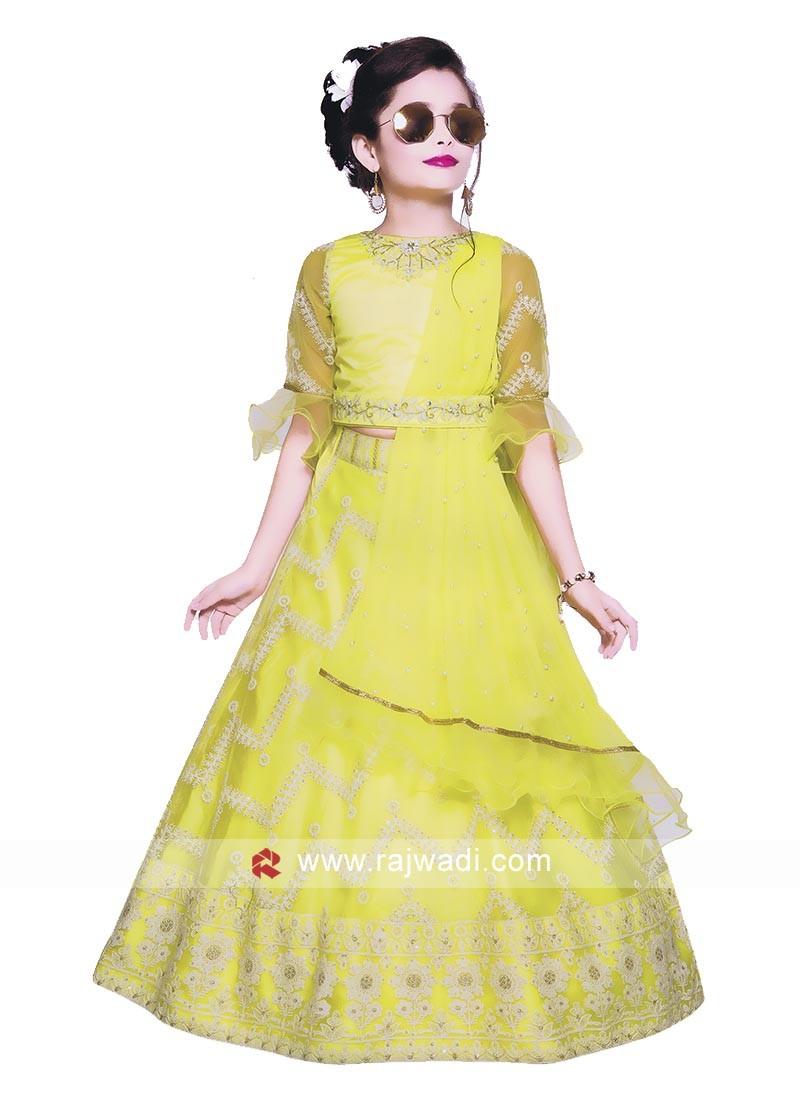 lemon Yellow Choli suit