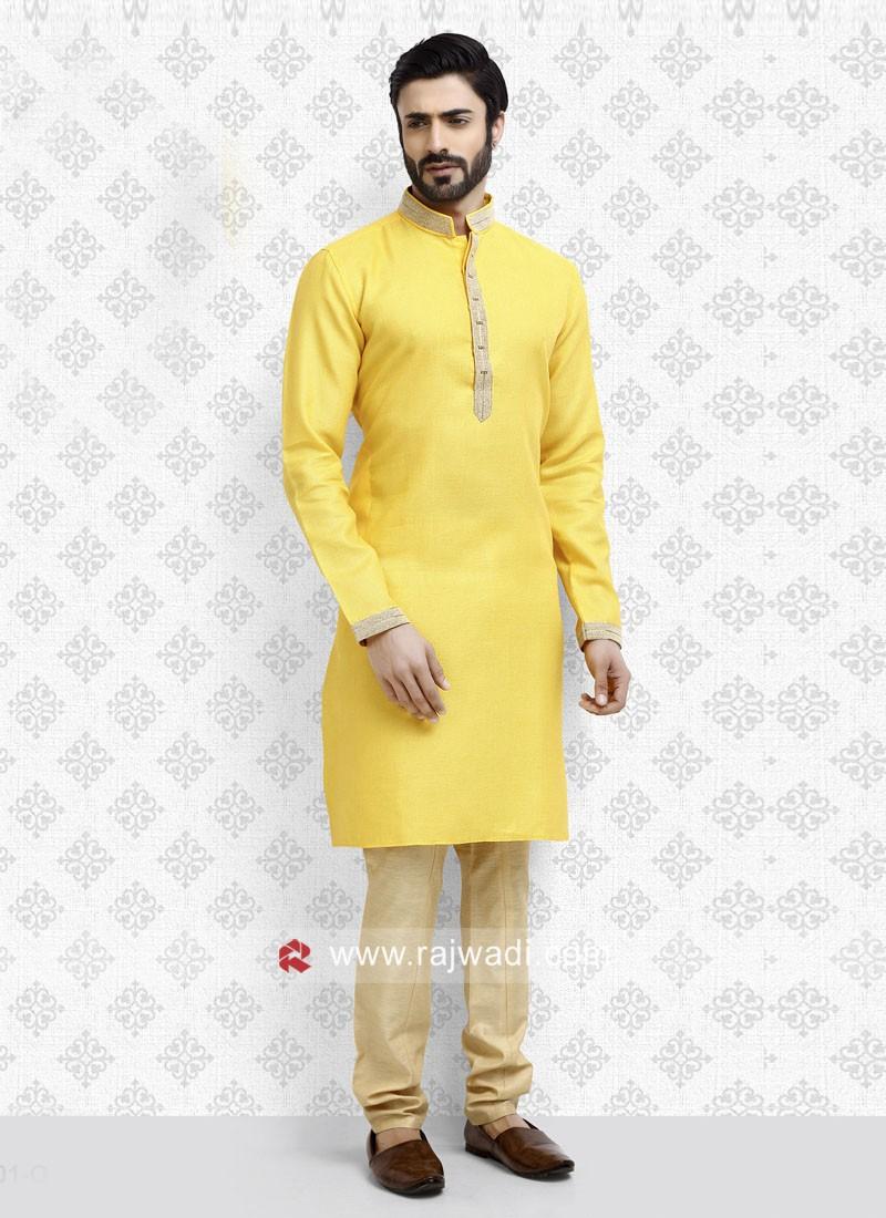 Lemon Yellow Color Kurta Pajama