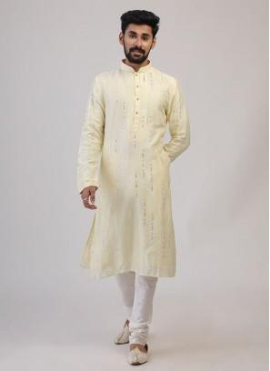 Lemon Yellow Color Kurta Pajama For Wedding