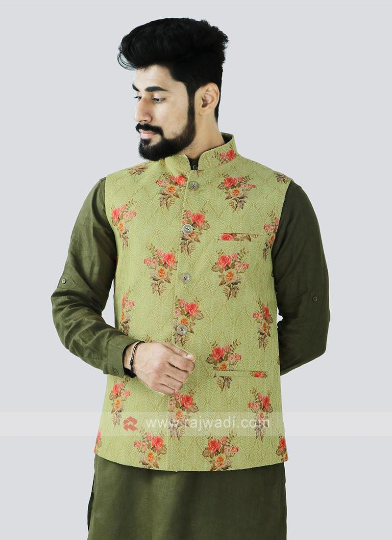 Lemon Yellow Color Nehru Jacket For Men