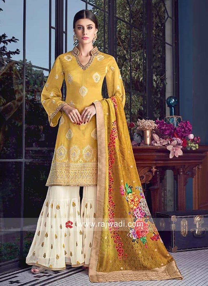 Lemon Yellow Cotton Silk Gharara Suit