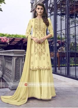 Lemon yellow gharara suit with dupatta