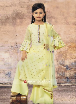 Lemon Yellow Kids Palazzo Suit