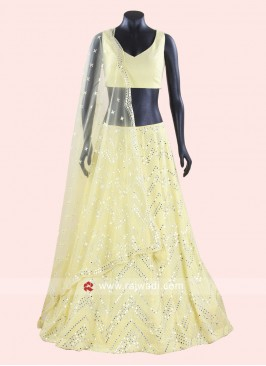 Lemon Yellow Lucknowi Lehenga Choli