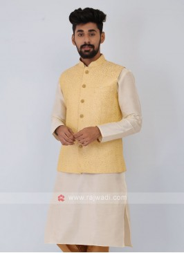 Lemon Yellow Mens Nehru Jacket Set