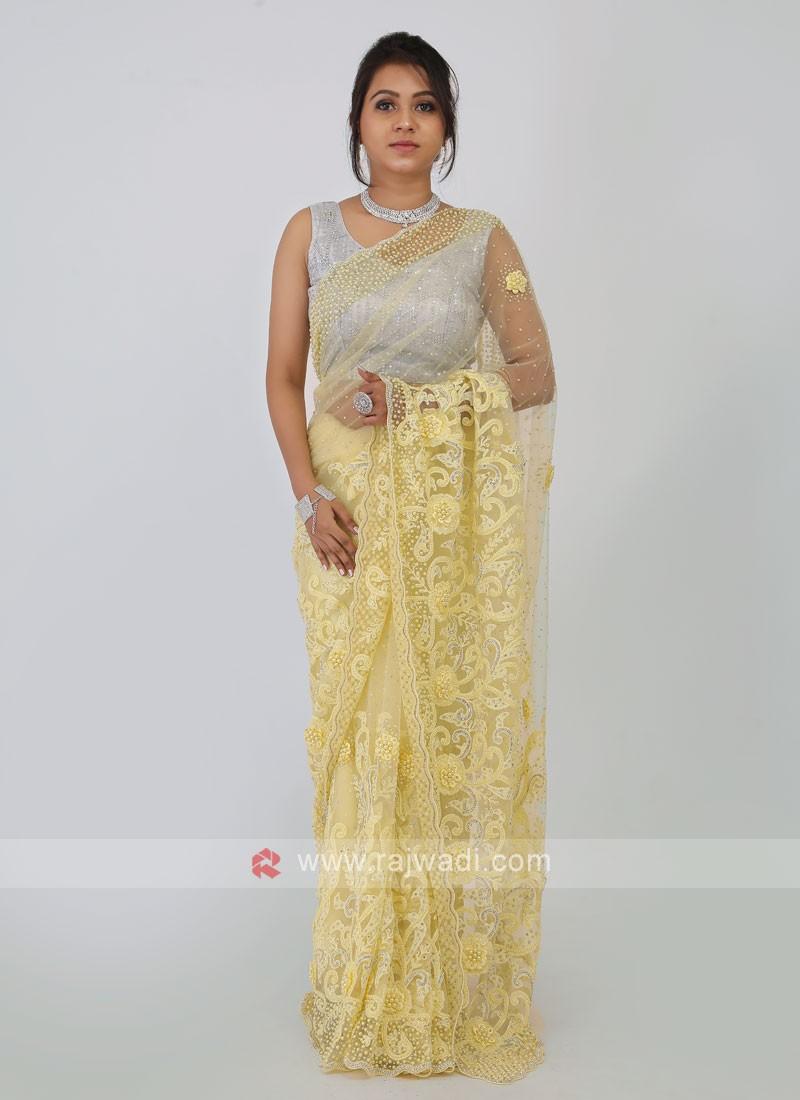Lemon Yellow Net Saree
