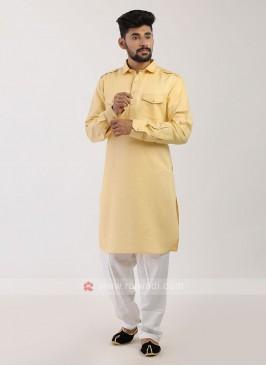 Lemon Yellow Pathani Suit