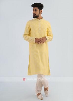 Lemon Yellow Printed Kurta Pajama