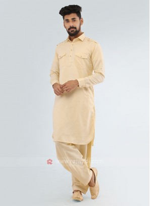 Lemon Yellow Soft Cotton Pathani Suit