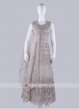 Beige Color Anarkali Suit with dupatta