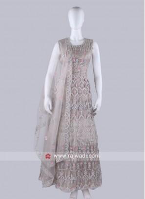 Beige Color Anarkali Suit with dupatta