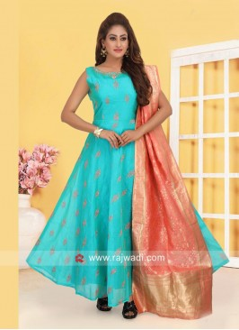 Light Blue Anarkali Suit with Peach Dupatta