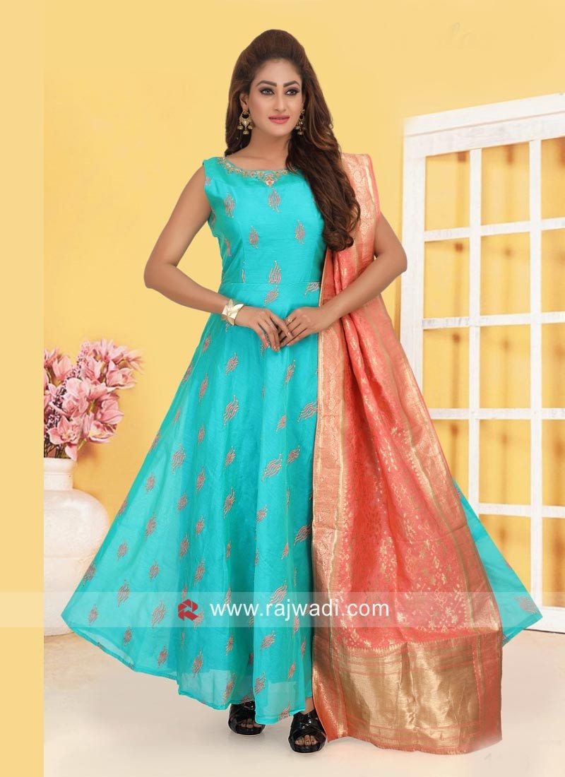 Light Blue Anarkali Suit with Peach Dupatta