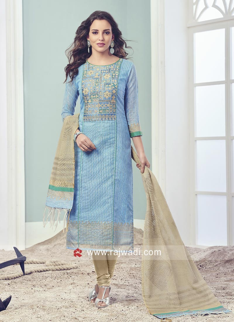Light Blue Cotton Silk Churidar Suit