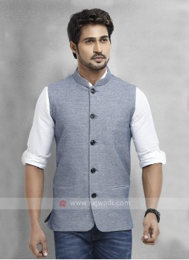 Slate Blue Cotton Silk Nehru Jacket