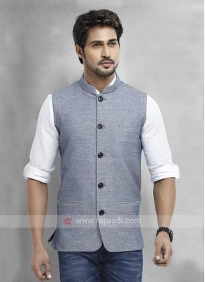 Slate Blue Cotton Silk Nehru Jacket