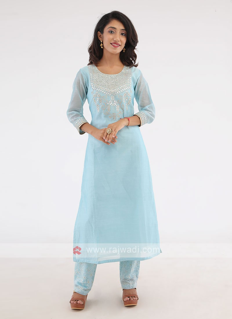 Light Blue Cotton Silk Kurti Set