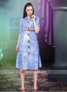 Light Blue Denim Short Kurti